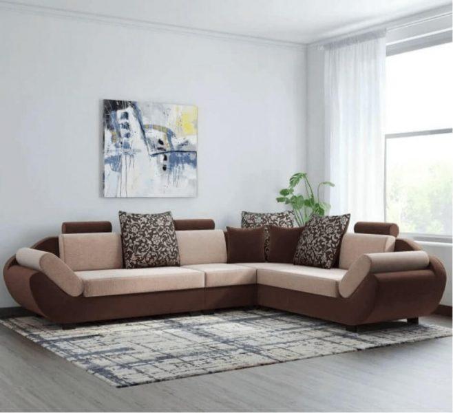 Bharat Lifestyle Fabric Six Seater Sofa Set