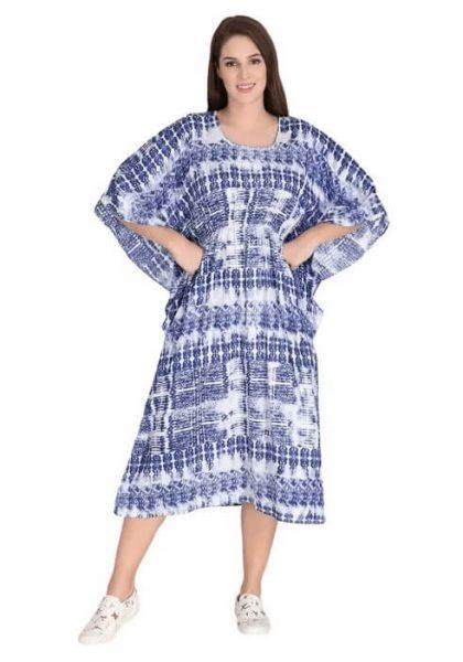 Blue and White Shibori Printed Kaftan