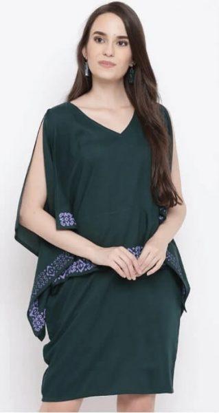 Green Solid Layered Kaftan