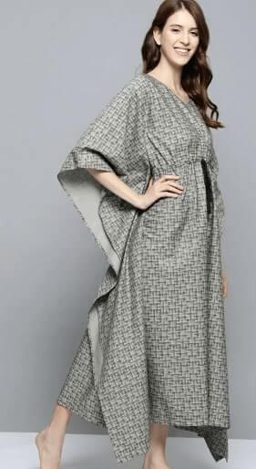 Grey and Black printed Kaftan