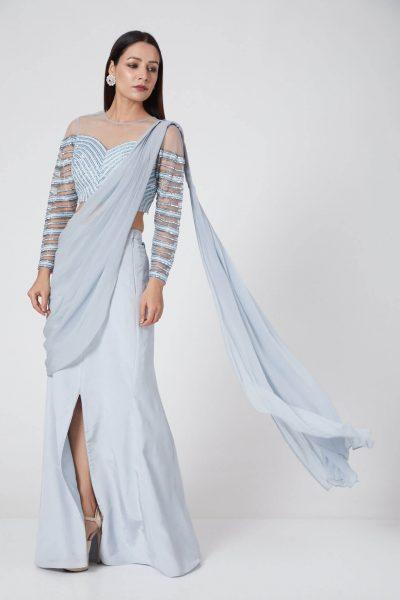 Medium-Slit Ice Blue Drape