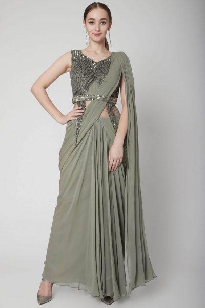 Mehendi Green Drape Saree