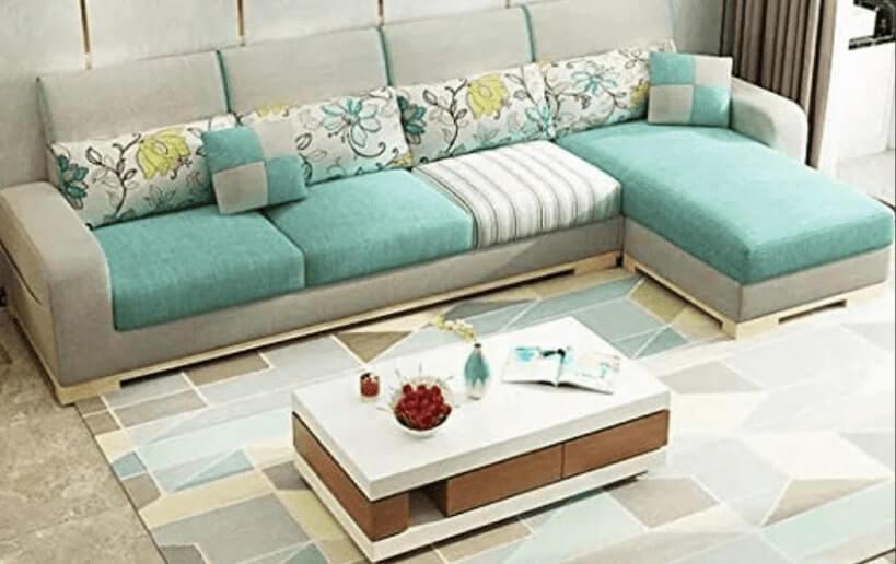 Roland Sectional Hardwood & Leather Sofa Set