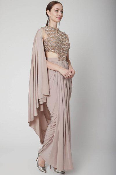 Rose Gold Drape Saree