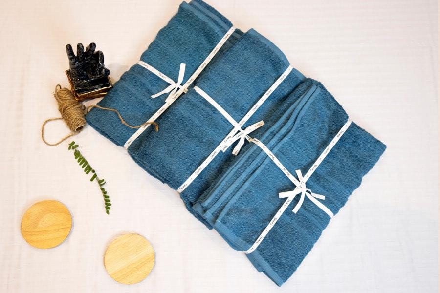 Teal Blue Bamboo Fibre Cotton Towel