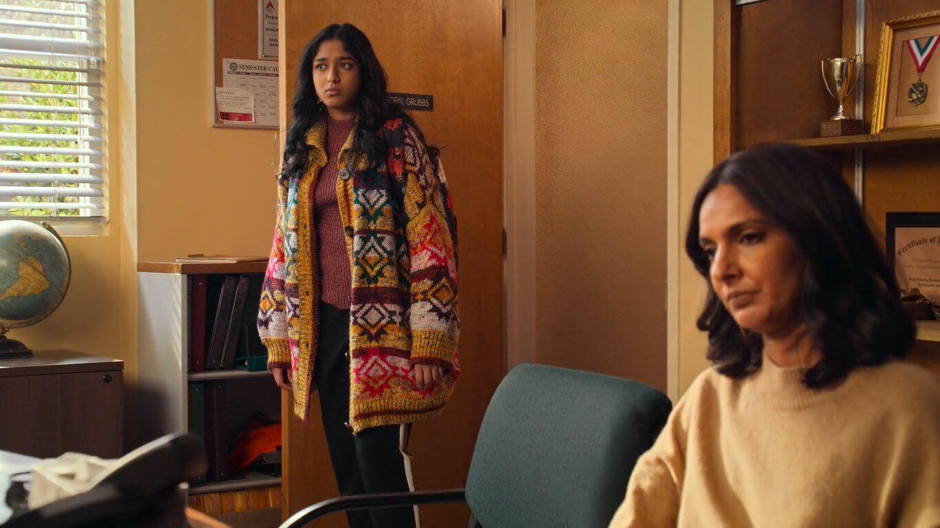 Devi's Yellow Striped Printed Cardigan Coat Look