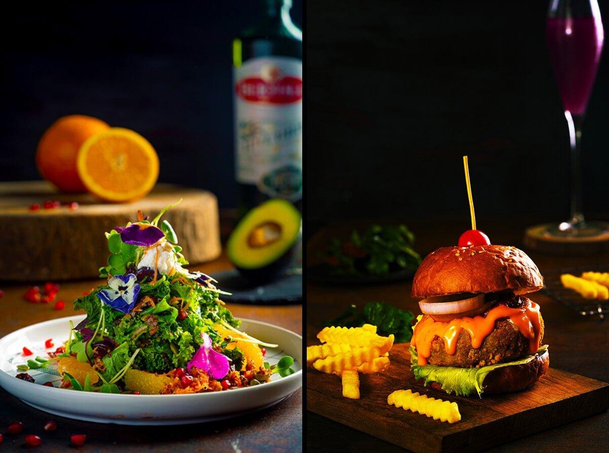Kale Lettuce Quinoa Salad and Truffle Mushroom Burger
