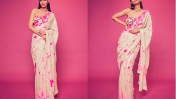 Dye Saree with Floral Bustier