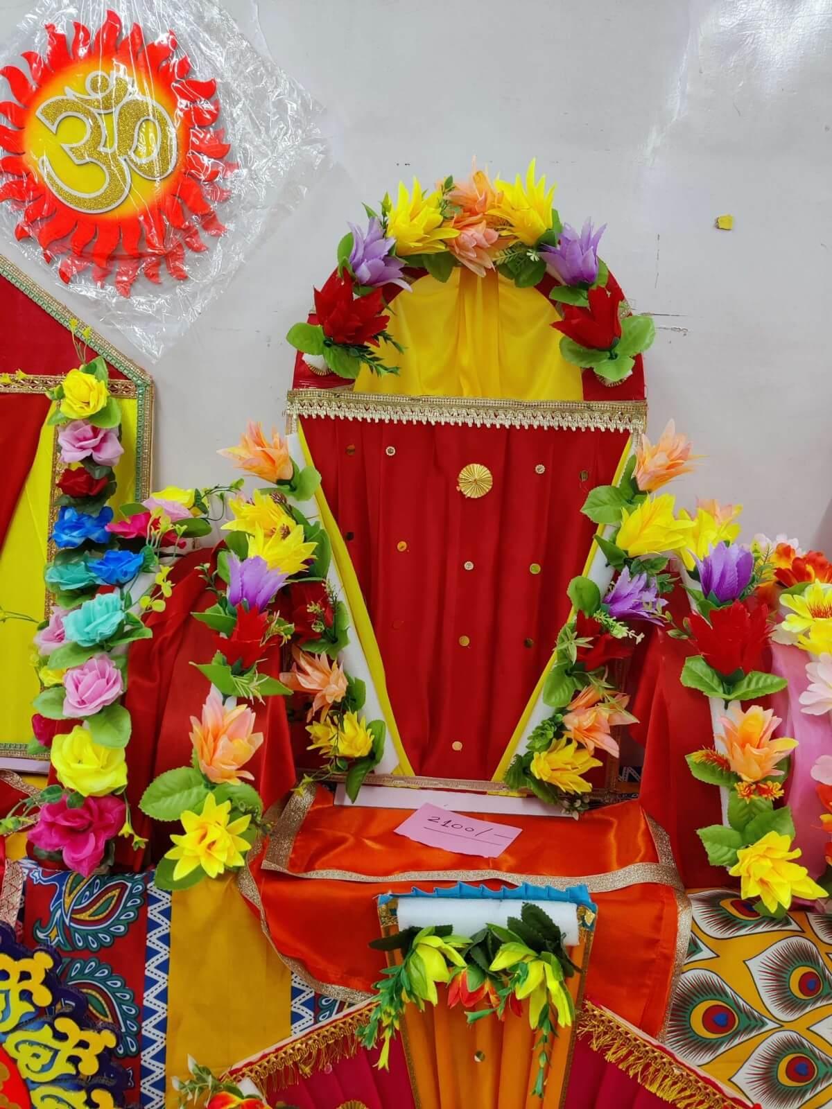 Ganpati Makhar paper flowers and lights