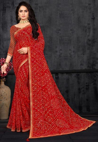 Bandhej Printed Georgette Saree in Red