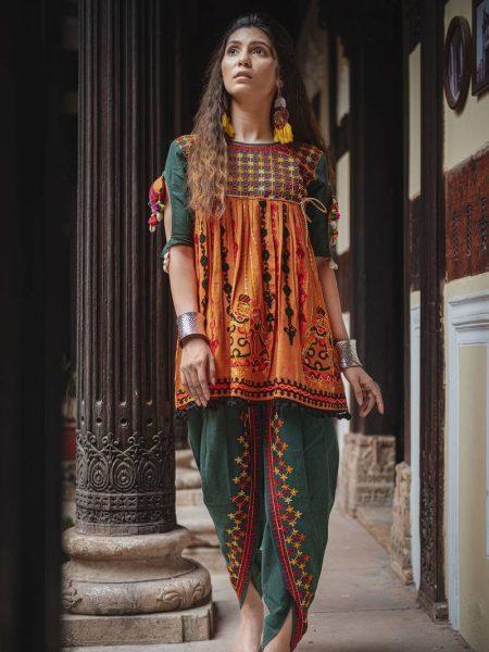 Rajasthani Dhingli Couple Embroidered Kedia and Tulip Pants Set