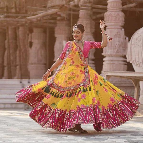 Yellow & Pink Digital Print With Mirror Work Chaniya Choli