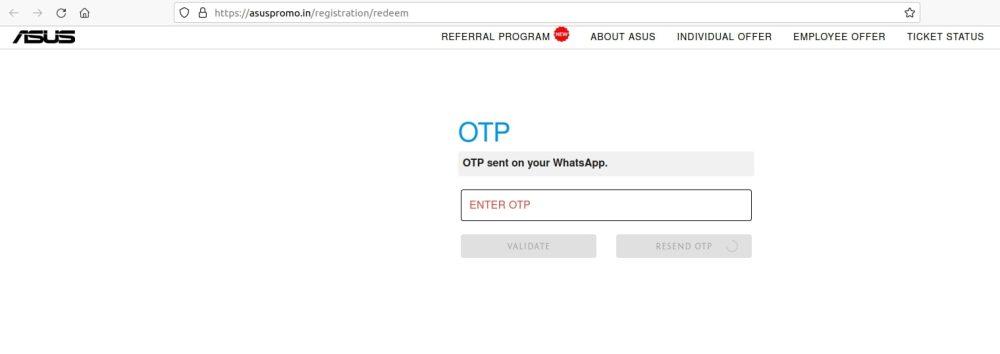 Asus promo OTP whatsapp