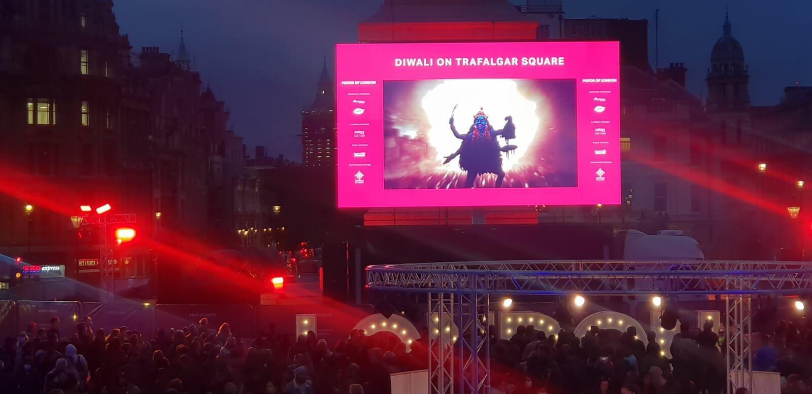 Bengal's heritage artwork of Aplana London Diwali Celebration Trafalgar Square Kali Puja